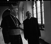 Bishops Meeting at Maynooth..09.03.1971..03.09.1971..9th March 1971..The Cardinal and Bishops met in Maynooth today.The purpose of the meeting was to establish the way forward for the Catholic Church in Ireland..Pictured in the halls of Maynooth is Cardinal Conway,Archbishop of Armagh and Primate of All Ireland from 1963 and the Very Rev. John McCarthy of Athlone.Rev.McCarthy is the Secretary to the Trustees of Maynooth, he succeeds Msgr. Boylan in this post.