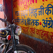 Parked Enfield bike at an alley of Jaipur