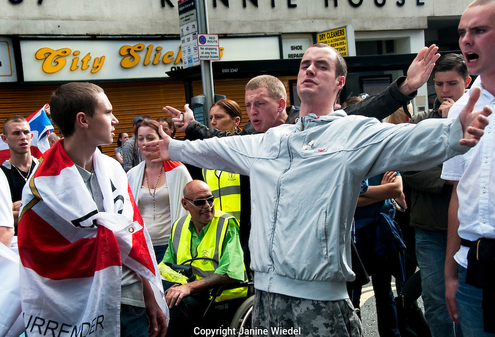 English Defence League EDL  march through Tower Hamlets London East End despite banning of march 3.9.2011