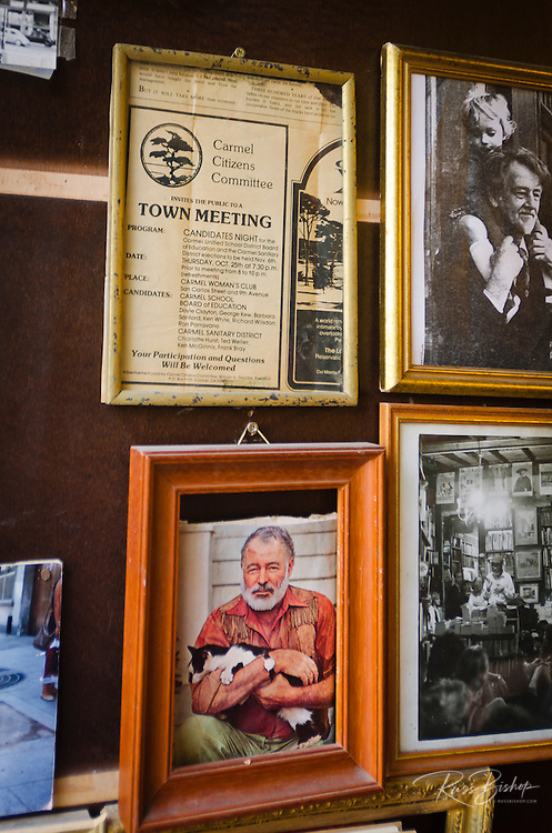 Pictures of Ernest Hemingway at Shakespeare and Company bookstore, Left Bank, Paris, France