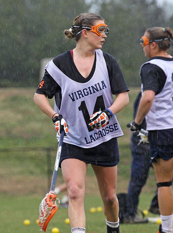 March 06, 2011 - Charlottesville, Virginia, USA -  The University of Virginia women's lacrosse player Caity Whiteley, former roommate of Yeardley Love, practices before a ceremony permanently retiring the number one jersey worn by Yeardley Love in honor and remembrance of her life Sunday at Klockner Stadium. Love's body was found May 3, 2010 and Virginia men's lacrosse player George Huguely is charged with murder. (Credit Image: © Andrew Shurtleff)