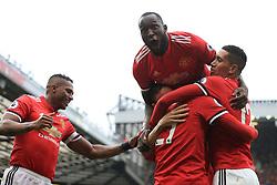 30th September 2017 - Premier League - Manchester United v Crystal Palace - Romelu Lukaku of Man Utd celebrates their 3rd goal - Photo: Simon Stacpoole / Offside.