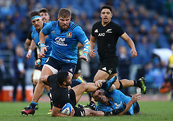 November 12, 2016 - Rome, Italy - Lima Sopoaga of the New Zealand All Blacks tackled by Andries Van Schalkwyk of the Italy Rugby during the international rugby match between New Zealand and Italy at Stadio Olimpico on November 12, 2016 in Rome, Italy. (Credit Image: © Arts Culture And Entertainment/NurPhoto via ZUMA Press)