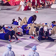 TOKYO, JAPAN - JULY 23: Athletes relax at the Opening Ceremony for the Tokyo 2020 Summer Olympic Games at the Olympic Stadium on July 23, 2021 in Tokyo, Japan. (Photo by Tim Clayton/Corbis via Getty Images)