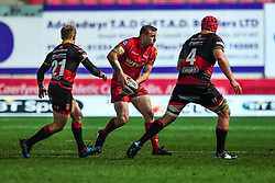 Scarlets' Hadleigh Parkes in action during todays match<br /> <br /> Photographer Craig Thomas/Replay Images<br /> <br /> Guinness PRO14 Round 13 - Scarlets v Dragons - Friday 5th January 2018 - Parc Y Scarlets - Llanelli<br /> <br /> World Copyright © Replay Images . All rights reserved. info@replayimages.co.uk - http://replayimages.co.uk