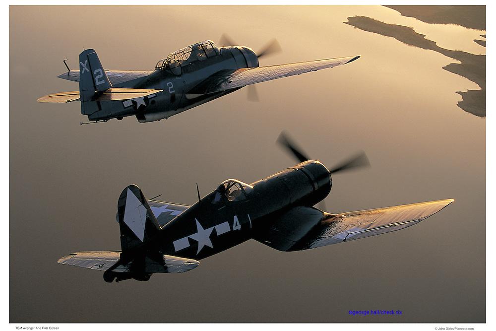 TBM and F-4U, aerial photography