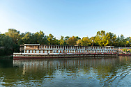 An old boat is tied to the shore on the Dniester River in Tiraspol, Transnistria.<br /><br />(September 10, 2016)