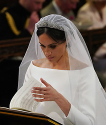 Meghan Markle during her wedding to Prince Harry at St George's Chapel, Windsor Castle.