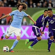 Mix Diskerud, NYCFC, in action during the New York City FC Vs Orlando City, MSL regular season football match at Yankee Stadium, The Bronx, New York,  USA. 18th March 2016. Photo Tim Clayton