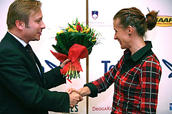 President of AZS dr. Peter Kukovica and Sonja Roman  when Athletic Federation of Slovenia (AZS) and top Slovenian athletes sign a contract of sponsorship, on February 14, 2008 in M-Hotel, Ljubljana, Slovenia. (Photo by Vid Ponikvar / Sportal Images)