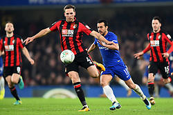 December 20, 2017 - London, England, United Kingdom - Bournemouth's Dan Gosling clears from Chelsea Forward Pedro during the Carabao Cup Quarter - Final match between Chelsea and AFC Bournemouth at Stamford Bridge, London, England on 20 Dec 2017. (Credit Image: © Kieran Galvin/NurPhoto via ZUMA Press)