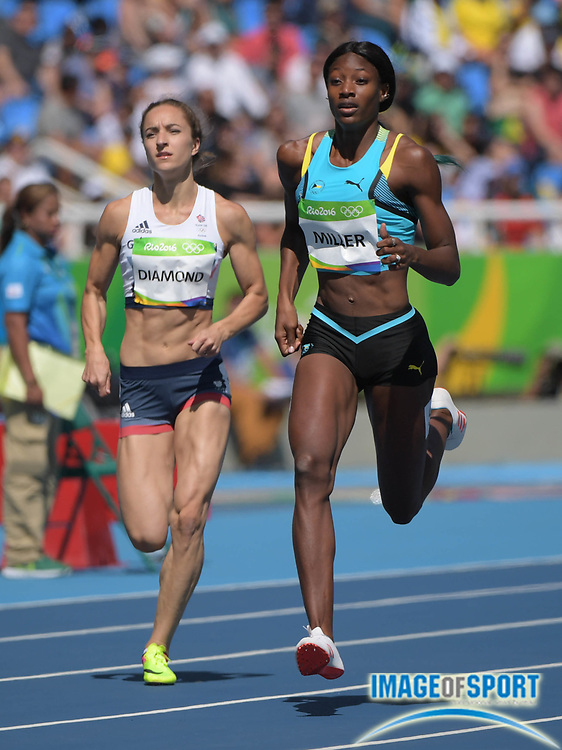 Aug 13, 2016; Rio de Janeiro, Brazil; Emily Diamond (GBR) and Shaunae Miller (BAH) compete in the women's 400m event at Estadio Olimpico Joao Havelange during the Rio 2016 Summer Olympic Games.