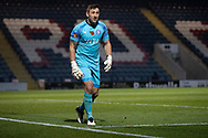 Stockport County goalkeeper Ben Hinchliffe (1)during the The FA Cup match between Rochdale and Stockport County at the Crown Oil Arena, Rochdale, England on 7 November 2020.