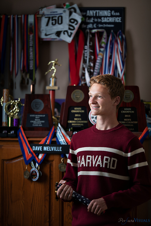 David Melville is a senior set to graduate from Northern Guilford High School. He has won six state running titles for cross country, indoor track and outdoor track. After graduation, Melville is going to study physics at Harvard.<br /> <br /> Photographed, Wednesday, May 16, 2018, in Greensboro, N.C. JERRY WOLFORD and SCOTT MUTHERSBAUGH / Perfecta Visuals