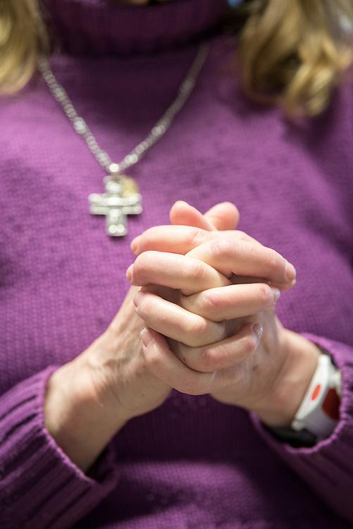 11 April 2017, Stockholm, Sweden: Evening prayers in the Easter week, in the Skarpnäck Parish, Church of Sweden. Here, Barbara Hallström.