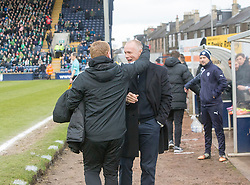 Hibernian's manager Neil Lennon and Raith Rovers manager John Hughes at the start. Raith Rovers 1 v 1 Hibernian, Scottish Championship game played 18/2/2017 at Starks Park.