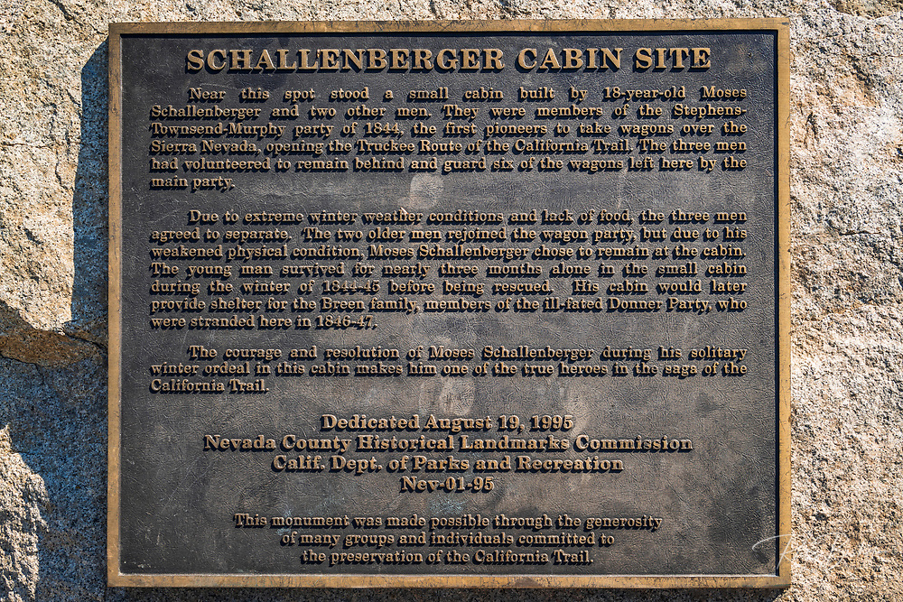 Interpretive plaque (Schallenberger Cabin) at Donner Memorial State Park, Truckee, California USA