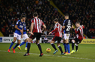 Caolan Lavery of Sheffield Utd scores the fourth goal during the English League One match at Bramall Lane Stadium, Sheffield. Picture date: December 10th, 2016. Pic Simon Bellis/Sportimage