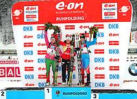 Skiskyting<br /> IBU World Cup<br /> Ruhpolding Tyskland<br /> 13.01.2013<br /> Foto: Gepa/Digitalsport<br /> NORWAY ONLY<br /> <br /> IBU Weltcup, 12,5km Massenstart der Damen. Bild zeigt den Jubel von Darya Domracheva (BLR), Tora Berger (NOR) und Olga Zaitseva (RUS).