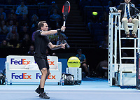 Tennis - 2017 Nitto ATP Finals at The O2 - Day Two<br /> <br /> Mens Doubles: Group Woodbridge/Woodforde: Jamie Murray (Great Britain) & Bruno Soares (Brazil) Vs Bob Bryan (United States) & Mike Bryan (United States)<br /> <br /> Bruno Soares (Brazil) returns close to the net at the O2 Arena<br /> <br /> COLORSPORT/DANIEL BEARHAM