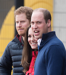 Prince William, Duke of Cambridge, Catherine, Duchess of Cambridge and Prince Harry join a team of Heads Together London Marathon training day at the Queen Elizabeth Olympic Park in London on February 5, 2017.