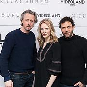 NLD/Hilversum/20180213 - Nieuwe Buren 3 persdag, Daan Schuurmans en partner Bracha van Doesburg en Tibor Lukács