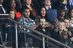File photo - Kourtney Kardashian and her boyfriend Younes Bendjima, Robin Wright Penn and her son Hopper Penn and Clément Giraudet attend the UEFA Champions League group B match Paris Saint-Germain (PSG) v FC Bayern Munich at the Parc des Princes stadium on September 27, 2017 in Paris, France. Actress Robin Wright has reportedly married French fashion executive Clement Giraudet in a weekend ceremony. According to Vogue Paris, the Wonder Woman star became Mrs. Giraudet at an undisclosed location on Saturday. Photo by Laurent Zabulon/ABACARESS.COM