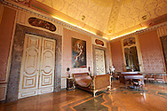 The Bedroom of Ferdinand II. The Kings of Naples Royal Palace of Caserta, Italy. A UNESCO World Heritage Site .<br /> <br /> Visit our ITALY HISTORIC PLACES PHOTO COLLECTION for more   photos of Italy to download or buy as prints https://funkystock.photoshelter.com/gallery-collection/2b-Pictures-Images-of-Italy-Photos-of-Italian-Historic-Landmark-Sites/C0000qxA2zGFjd_k<br /> <br /> <br /> Visit our EARLY MODERN ERA HISTORICAL PLACES PHOTO COLLECTIONS for more photos to buy as wall art prints https://funkystock.photoshelter.com/gallery-collection/Modern-Era-Historic-Places-Art-Artefact-Antiquities-Picture-Images-of/C00002pOjgcLacqI