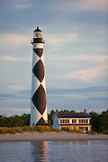 A view of the Cape Lookout Lighthouse and Lightkeeper's Home on the coast of North Carolina