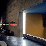 Éveux, France, Rodano, 1980: Interior view of the church building, Sainte Marie de La Tourette. (1957), complex, located on a hillside near Lyon - Le Corbusier arch - Photographs by Alejandro Sala