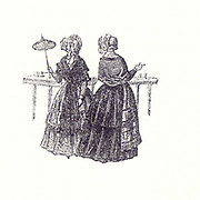 Historic Illustration of two women Bad Ems Circa 1850