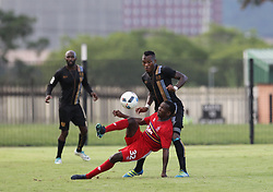 01042018 (Pietermaritzburg) Zithulele Mhlontlo tries his luck plays with a ball when Royal Eagles played a nil draw against the university of Pretoria yesterday At Harry Gwala stadium.<br /> Picture: Motshwari Mofokeng