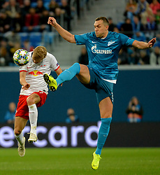 November 5, 2019, St. Petersburg, Russia: Russia. St. Petersburg. November 5, 2019. FC Leipzig FC players Konrad Laimer and Zenit FC Artyom Dziuba (left to right) in the UEFA Champions League group stage match between the Zenit teams (St. Petersburg, Russia) and RB Leipzig  (Credit Image: © Andrey Pronin/ZUMA Wire)