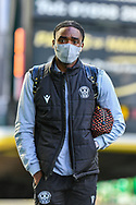 Devante Cole (#44) of Motherwell FC arrives before the SPFL Premiership match between Hibernian FC and Motherwell FC at Easter Road, Edinburgh, Scotland on 27 February 2021.