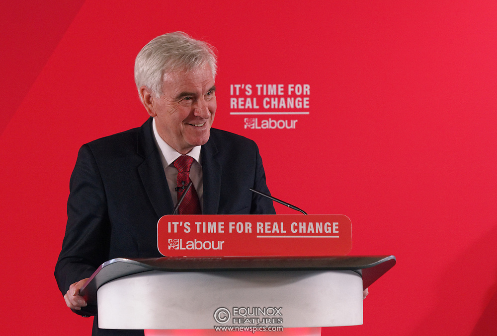London, United Kingdom - 9 December 2019<br /> John McDonnell gives an economics speech in the run up to the general election 2019, on behalf of the Labour Party at Coin Street Community Builders, London, England, UK.<br /> (photo by: EQUINOXFEATURES.COM)<br /> Picture Data:<br /> Photographer: Equinox Features<br /> Copyright: ©2019 Equinox Licensing Ltd. +443700 780000<br /> Contact: Equinox Features<br /> Date Taken: 20191209<br /> Time Taken: 11473234<br /> www.newspics.com