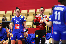 HERNING, DENMARK - DECEMBER 6: Alexandra Lacrabere, and Amandine Leynyaud smile during the EHF Euro 2020 Group A match between Slovenia and France in Jyske Bank Boxen, Herning, Denmark on December 6, 2020. Photo Credit: Allan Jensen/EVENTMEDIA.