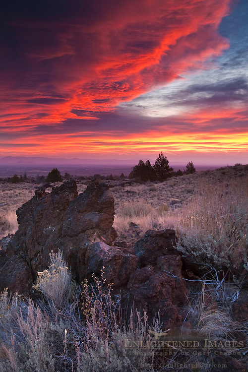 Storm clouds over lava rocks at sunrise, Lava Beds National Monument, Siskiyou County, California