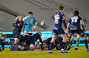 Sale Sharks scrum-half Faf De Klerk passes from a breakdown during the Gallagher Premiership match Sale Sharks -V- Worcester Warriors at The AJ Bell Stadium, Greater Manchester,England United Kingdom, Friday, January 08, 2021. (Steve Flynn/Image of Sport)