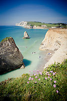Stand up paddle-boarders (SUP) at Freshwater Bay, Isle of Wight.