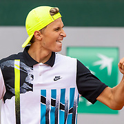 PARIS, FRANCE October 08. Leandro Riedi of Switzerland celebrates his victory against Alex Barrena of Argentina in the Boy's Singles quarter-finals match during the French Open Tennis Tournament at Roland Garros on October 8th 2020 in Paris, France. (Photo by Tim Clayton/Corbis via Getty Images)