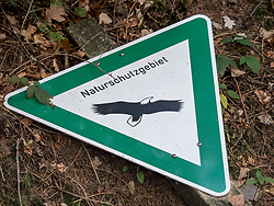 Nature reserve sign on forest floor
