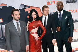 (L-R) Charlie Cox, Krysten Ritter, Finn Jones and Mike Colter attend the 'Marvel's The Defenders' New York Premiere at Tribeca Performing Arts Center in New York, NY, on on July 31, 2017. (Photo by Anthony Behar) *** Please Use Credit from Credit Field ***