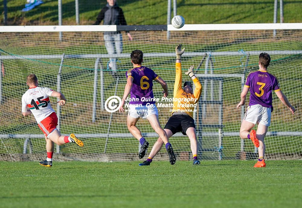 Wolf Tones goalkeeper, David Nolan , makes a great save off a Brian Hanlon shot,   in the Gaeil Colmcille v Wolfe Tones, 2020 Feis Cup Final match, at Páirc Tailteann, Navan.<br /> <br /> Photo: GERRY SHANAHAN-WWW.QUIRKE.IE<br /> <br /> 02-08-2021