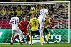 November 20, 2018 - Stockholm, Sweden - Artem Dzyuba (N22) of Russia heads the ball as Robin Olsen (2nd L) of Sweden defends during the UEFA Nations League B Group 2 match between Sweden and Russia on November 20, 2018 at Friends Arena in Stockholm, Sweden. (Credit Image: © Mike Kireev/NurPhoto via ZUMA Press)