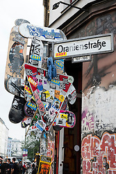Street sign on Oranienstrasse in bohemian district of Kreuzberg  in Berlin Germany