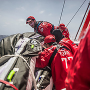 Leg 6 to Auckland, day 09 on board MAPFRE, Moving sails, Louis Sinclair, Blair, Sophie and Xabi. 15 February, 2018.