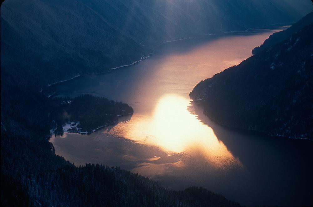 Lake Crescent, evening light, aerial view, January, Olympic National Park, Washington, USA
