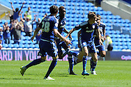 Cardiff's Craig Noone (front right) celebrates with team mates after scoring his teams 1st goal to equalise at 1-1. Skybet football league championship match, Cardiff city v Fulham at the Cardiff city stadium in Cardiff, South Wales on Saturday 8th August  2015.<br /> pic by Carl Robertson, Andrew Orchard sports photography.