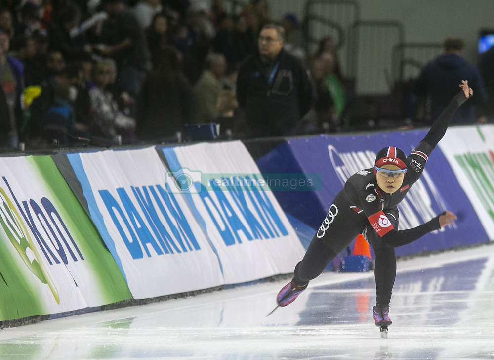 March 9, 2019 - Salt Lake City, Utah, USA - Jingzhu Jin of China competes in the ladies 500m speed skating finals at the ISU World Cup at the Olympic Oval in Salt Lake City, Utah. (Credit Image: © Natalie Behring/ZUMA Wire)