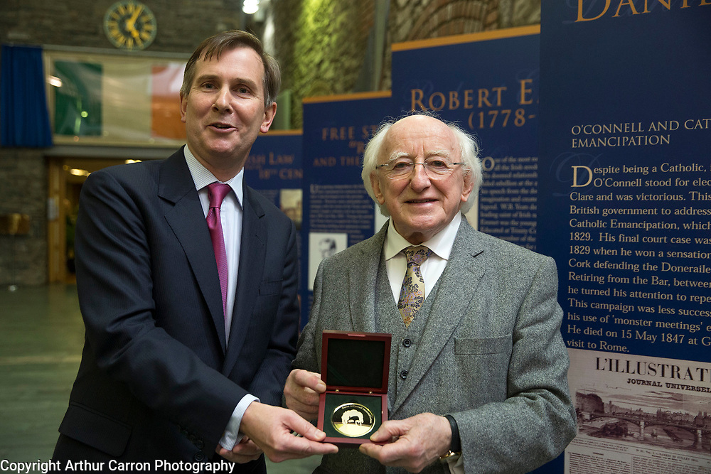 19/11/15 President Michael D Higgins recieving a medal from David Barniville SC, Chairman Council of The Bar of Ireland for speaking at the Daniel O'Connell Memorial Lecture at The Bar of Ireland. Picture:Arthur Carron
